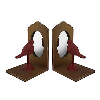 漂亮的栖木红鸟寻找镜子复古质朴的书签集