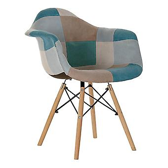 Stol DKD Home Decor Patchwork Polyester Furu (62 x 61 x 83 cm)
