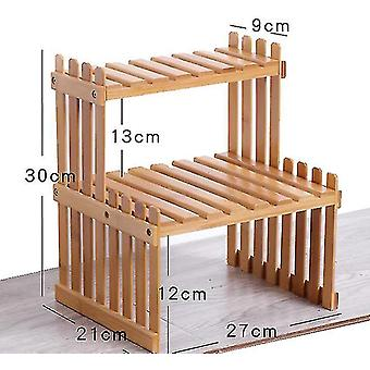 Desktop Flower Stand Mini Bamboo Small Flower Stand Office Storage Rack Window(GROUP2)
