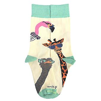 Long Necked Animals Wearing Glasses Socks from the Sock Panda (Adult Small)