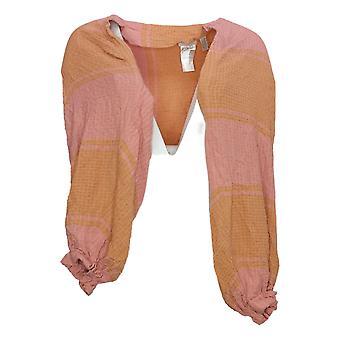 LOGO by Lori Goldstein Women's Sweater M-L Reg Shrug Pink A380404