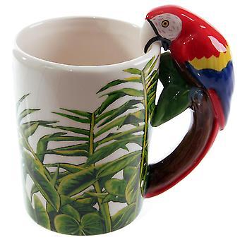 Papagei Tasse Ara, 3-D Henkel  weiß, bedruckt, 100 % Keramik, Fassungsverm÷gen ca. 300 ml., Geschenkkarton.