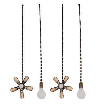 Lamps 4cs copper extension ceiling fan light switch chain kit green bronze