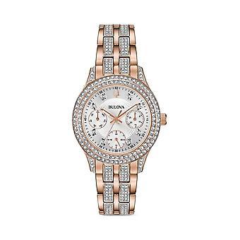 Bulova 98n113 קריסטל זהב ורוד פלדת על חלד נשים שעונים