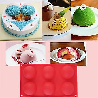 Red 6 Half Ball Round Chocolate Cake Candy Soap Mold Flexible Silicone Mould