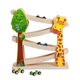 Montessori Holzautorampe für Kinder, Rennspielzeug, Parkplatz, Rennstrecke mit 4 Mini-Autos, Kindergeschenke