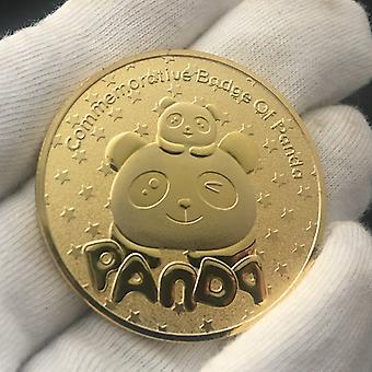 פנדה זהב מצופה זהב אוסף מטבעות זהב מטבע תבליט בעלי חיים מטבע