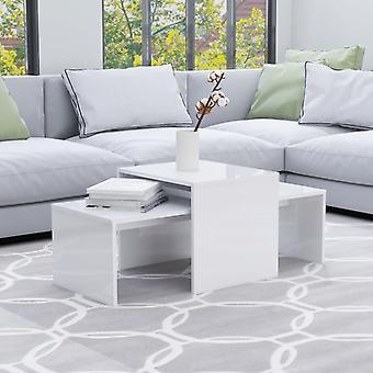 Chunhelife Couchtisch Set Hochglanz Weiß 100x48x40 Cm Spanplatte