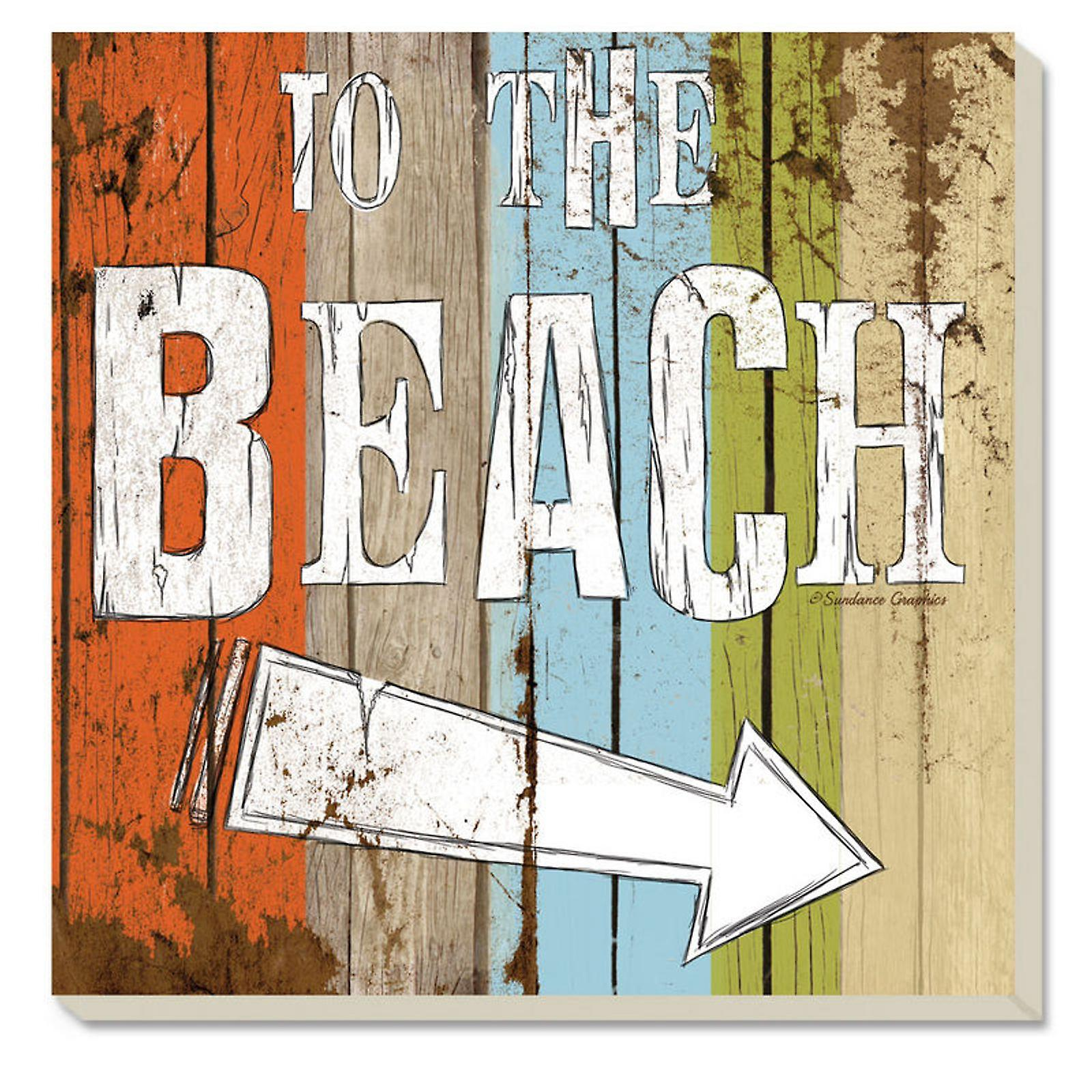 To the Beach Sign 4 Inch Square Absorbent Stone Coasters Set of 4