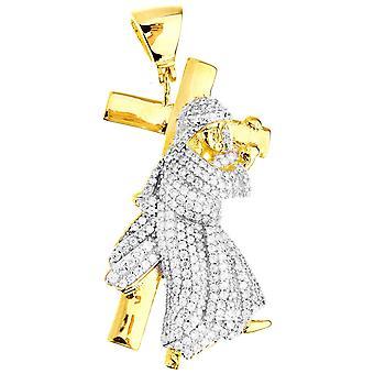 Premium Bling - 925 sterling sølv Jesus cross anheng