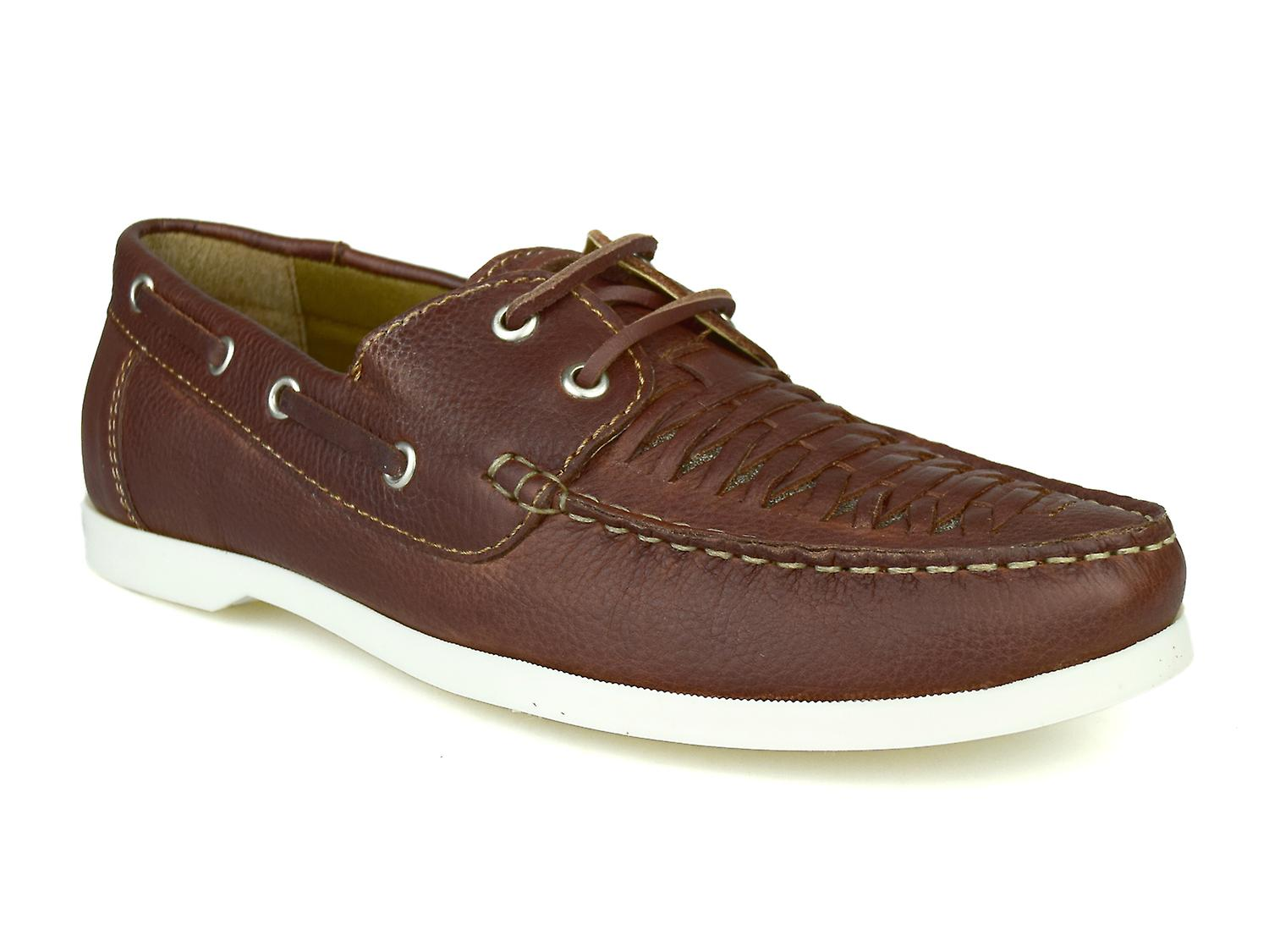 Silver Street London Crew Mens Tan Leather Boat Shoes