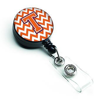 Letter T Chevron Orange and Regalia Retractable Badge Reel