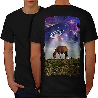 Horse Mars Space Animal Men BlackT-shirt Back | Wellcoda