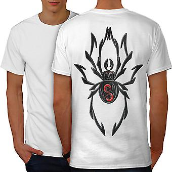 Black Spider Art Men WhiteT-shirt Back | Wellcoda
