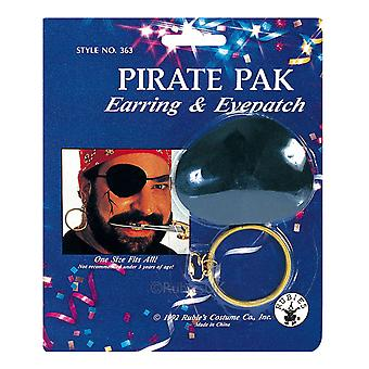 Pirate Jack Sparrow Captain Cutthroat Buccaneer Men Costume Earring Eyepatch