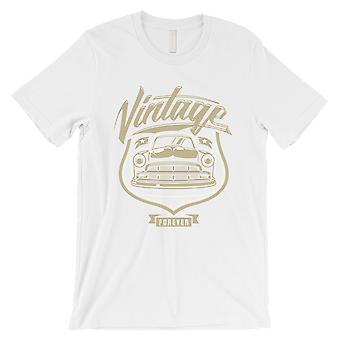 Vintage Forever Mens White Unique Retro Style T-Shirt Gift For Dad