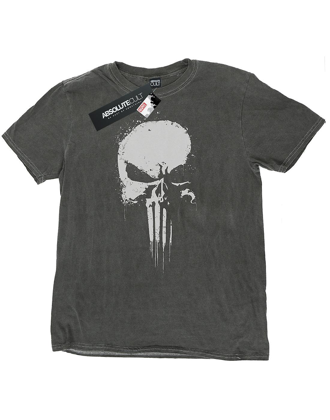 Marvel Men's The Punisher Spray Skull Washed T-Shirt