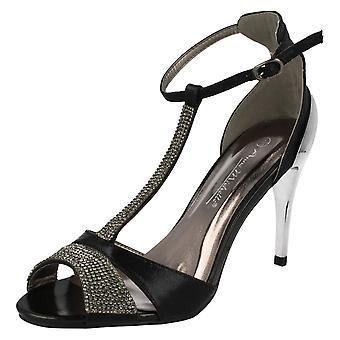 Ladies Anne Michelle Open Toe Diamante Heels F10279