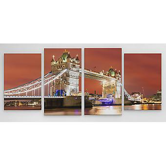 Large A1 A2 A3 Panel Panoramic Canvas Wall Art Painting of London Bridge City Scape for your Living Room Canvas Prints - Pictures