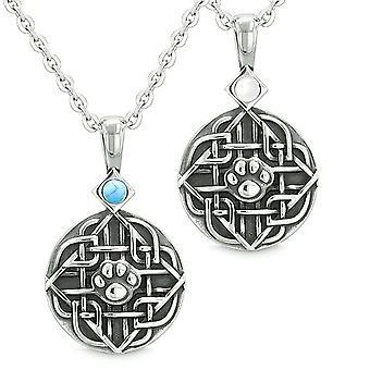 Amuletten liefde paren beste vrienden Keltische Wolf Paw gesimuleerde Turquoise witte katten instellen oog kettingen