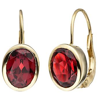 Boutons 333 2 or jaune or grenade rouge Boucles d'oreilles Boucles d'oreilles Boucles d'oreilles grenat