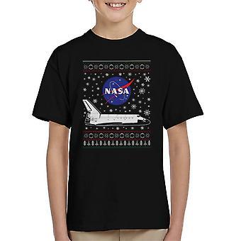 NASA Logo And Shuttle Christmas Knit Pattern Kid's T-Shirt