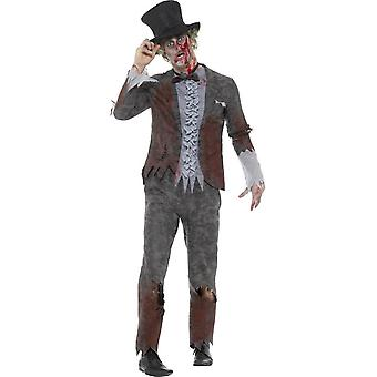 Smiffy's Deluxe Groom Costume, Grey, With Trousers, Jacket, Attached Mock Shirt, Hat & Bow Tie