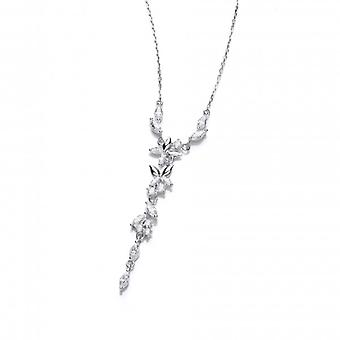 Cavendish French Silver and Cubic Zirconia Butterfly Drop Necklace