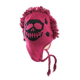 Knit Mohawk Skull And Crossbones Pilot Hat