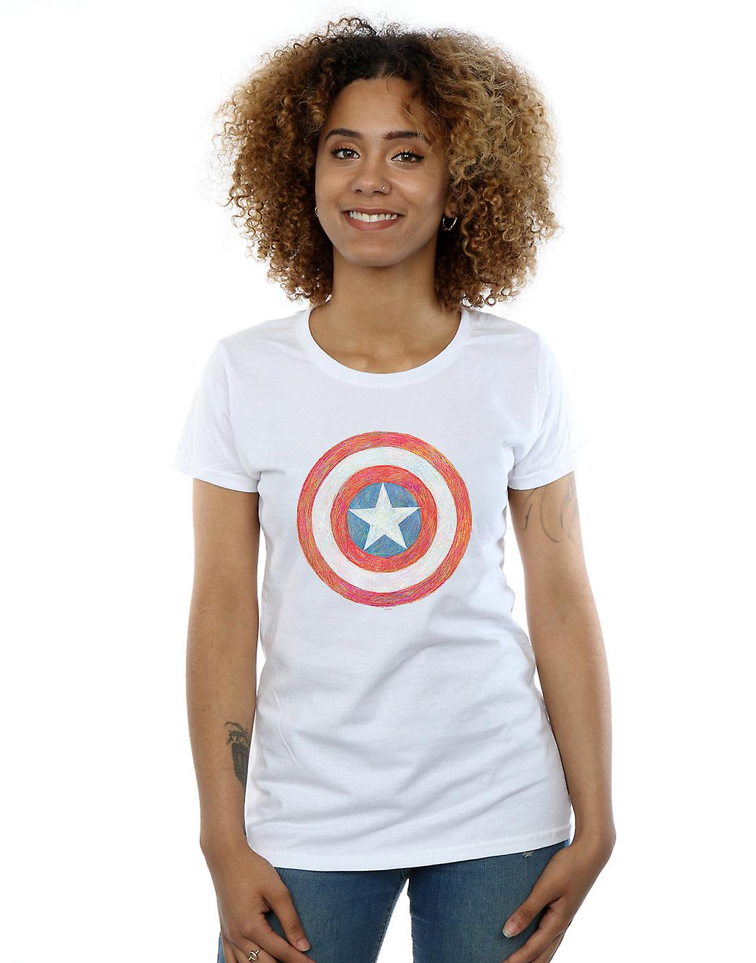 Marvel Women's Captain America Sketched Shield T-Shirt