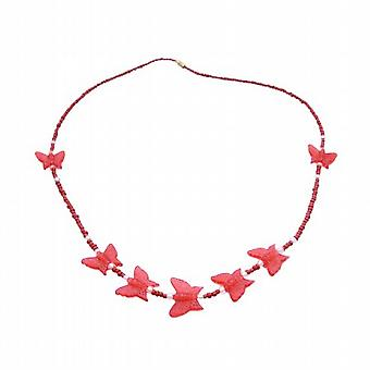 قلادة الفراشة للأطفال قلادة حمراء مشرقة & الخرز الفراشة