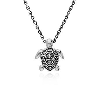 Classic Round Marcasite Turtle Necklace in 925 Sterling Silver 214N702101925