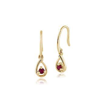 Gemondo 9ct Yellow Gold Single Stone 0.14ct Ruby Drop Earrings
