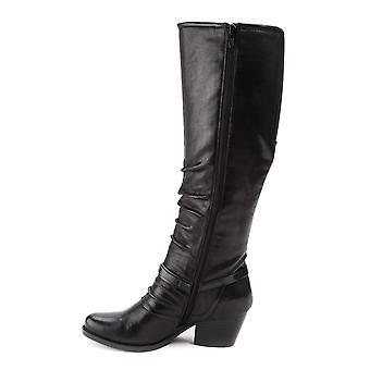 الفخاخ العارية النساء روز النسيج اللوز تو الركبة أحذية الأزياء العالية