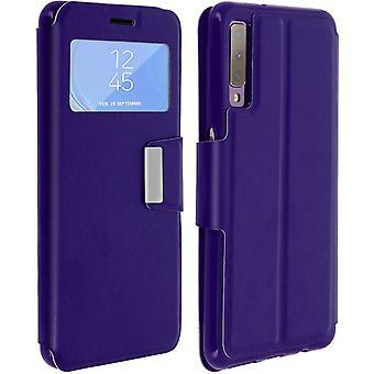 Ikkuna läppä kotelo, älykäs näkymä ohut kotelo Samsung Galaxy A7 2018-violetti