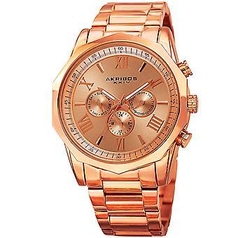 Akribos XXIV AK940RG Zwei Zeitzone Dodecagonal Steel Armband Watch
