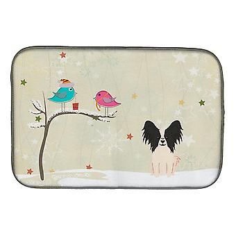 Christmas Presents between Friends Papillon Black White Dish Drying Mat