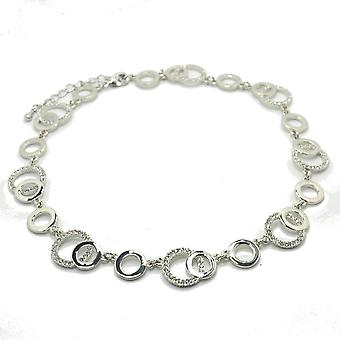 VIP Silver Plated Crystal Set Circle Necklet