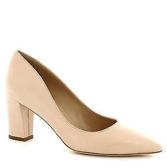 Leonardo Shoes Femme à talon mi-talon fait à la main pompes poudre rose cuir napa
