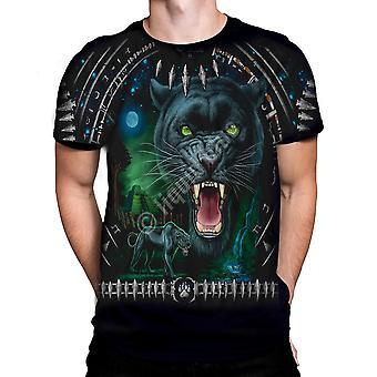 Vloeibare blauw-Tribal Panther-t-shirt