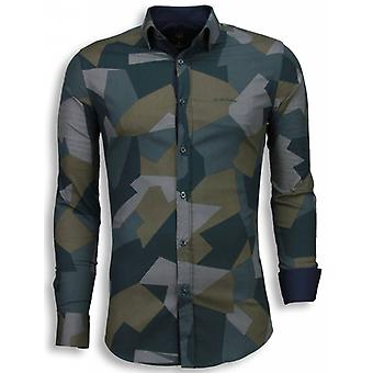 E Shirts - Slim Fit - Modern Army Pattern - Green