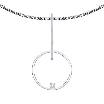 Jewelco London Ladies Rhodium Plated Silver White Round Brilliant Cubic Zirconia Floating Loop Pendant Necklace 18 inch