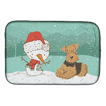 Airedale Terrier Snowman Christmas Dish Drying Mat