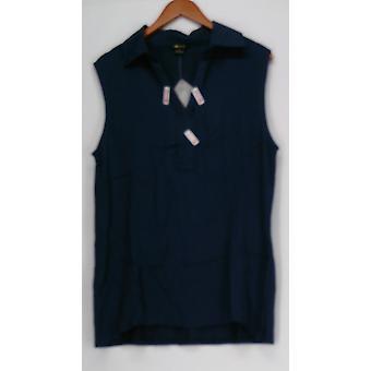 Iman Global Chic senza maniche tessuto e maglia serbatoio Top donne blu 467-143