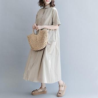 Round Neck Loose Drawstring  Dress