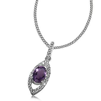 Goldmaid Silver Woman Necklace Oxidized Round Amethyst Viola 7 millimeters