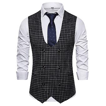 Allthemen Men's Plaid Double-Breasted U-Collo Business Casual Suit Vest 3 Colori