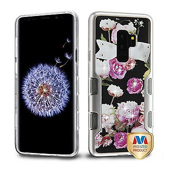 MYBAT Metallic Silver/Roses Diamante TUFF Panoview Hybrid Protector Cover  for Galaxy S9 Plus