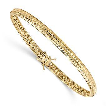 5mm 14k Gult Guld Öppet rygg Säkerhetslås Polerad Texturerad Flexibel Manschett Stapelbar Bangle Armband Smycken Gåvor för W