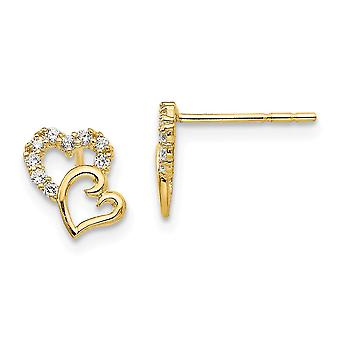 14k Yellow Gold Polished CZ Cubic Zirconia Simulated Diamond Double Love Heart Post Earrings Measures 8x6mm Wide Jewelry